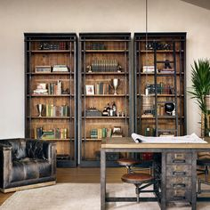 A two-tone finish beguiles the senses in this antiquated, library bookcase. The exterior of the Ivy Bookcase is finished in a hand-rubbed black while the interior shelves with unique iron supports… Home Office Design, Home Office Decor, Office Furniture, House Design, Home Decor, Office Ideas, Office Setup, Office Style, Door Design