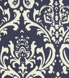 Home Decor Print Fabric- Navy Damask, , hi-res