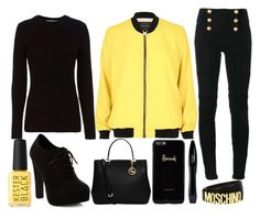 """""""sunny day"""" by j-n-a ❤ liked on Polyvore featuring River Island, Balmain, rag & bone, New Look, Moschino, MICHAEL Michael Kors, Harrods and Lancôme"""