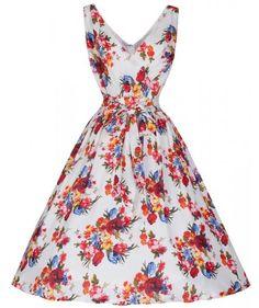 LindyBop šaty Josephine, bílé s květy