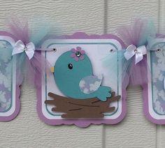 Bird baby shower banner, nesting bird banner, baby bird, teal and lavender, it's a girl banner, nancysbannerboutique, etsy, handmade banner