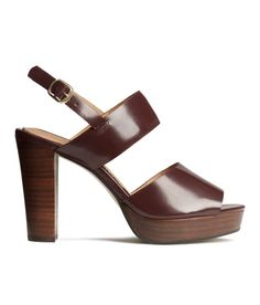 Burgundy platform sandals with premium-quality leather, wood heel, and metal buckle. | H&M Shoes