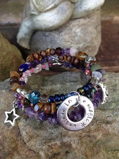 Believe in the Magic: three wrap memory wire bracelet with metal stamped charm on Etsy, $30.00
