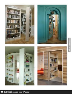 secret rooms in bookcases. I have always wanted a house with secret passages! Dream Rooms, Dream Bedroom, My New Room, My Room, Door Design, House Design, Bookcase Door, Bookcases, Hidden Rooms