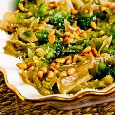 I ate this Sauteed Escarole with Parmesan and Pine Nuts for a late Saturday breakfast and thoroughly loved it!