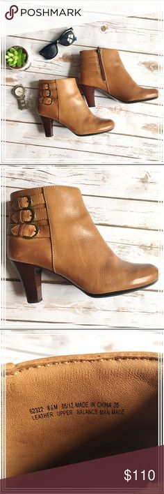 """Clarks Artisan Tan leather ankle boots booties In good condition, these super comfortable leather ankle boots have been worn 4-5 times at the most. The heel measures approx. 3"""" and the shaft is 12"""" around. The three buckles on the side of the shaft give these shoes an elegant vibe, while keeping it a bit grungy. There are some scuffs on one heel as shown, and a few scuffs on the leather (see pictures). The leather is butter soft, and oh so comfortable! I'm also selling the same shoe in…"""