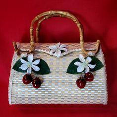Bow & Crossbones, Bamboo Maria cherry handbag, Plumeria Flowers, Pin-Up, Tiki