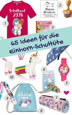 Einhorn Schultüte füllen: 65 Einhorngeschenke zur Einschulung #Einhorn #Unicorn #Schultüte