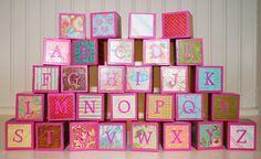 Children's Alphabet Building Blocks / Wooden Building Blocks - Pink Shabby Chic…
