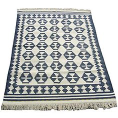 Indo Kilim Ivory/Navy Rug from Overstock. $180 >> LOVE this... now I am torn between this one and one from ikea for 179...