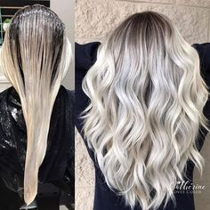 Image may contain: one or more people Blonde Hair With Roots, Blonde Hair Looks, Hair Highlights, Chunky Highlights, Caramel Highlights, Color Highlights, Balayage Hair Blonde, Hair Color And Cut, Platinum Blonde Hair