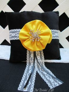 Soft Black Velvet Ring Bearer Pillow with Yellow Flower Detail and a Large Swirl Rhinestone Center, Pillow wrapped in white lace - Perfect for a Winter Wedding! by Bridal Loft on Etsy