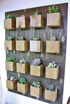 Доска с деревянными ящиками для растений.