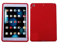 """Amazon.com: Brilliant Red {Simple Matte Plain} Soft and Smooth Silicone Cute 3D Fitted Bumper Back Cover Gel Case for iPad Mini 1, 2 and 3 by Apple """"Durable and Slim Flexible Fashion Cover with Amazing Design"""": Computers & Accessories"""