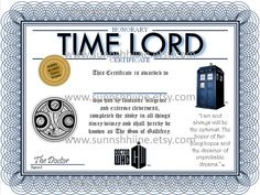 Time Lord Certificate (Doctor Who, The Doctor, Tardis, Companion, Party Favor, Gag Gift, Stocking Stuffer)