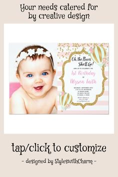 Shop Hot air balloon birthday pink gold photo invitation created by StyleswithCharm. First Birthday Invitations, Photo Invitations, Zazzle Invitations, Balloon Birthday, Hot Air Balloon, Pink And Gold, Creative Design, First Birthdays, Custom Design