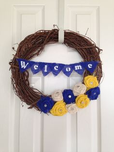 Spring and Summer Burlap Grapevine wreath with yellow, navy and ivory burlap rosette flowers, Burlap Welcome  Banner Wreath. By Rockstar Wreaths via Etsy #etsy #handmade