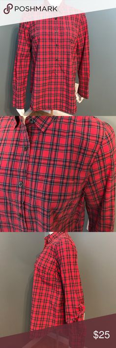 J. Crew red plaid cotton long sleeve pocket tunic Light weight collared shirt, single breast pocket. 100% cotton. Red plaid print size 6 J. Crew Tops Button Down Shirts