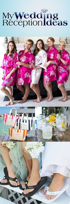 A satin kimono robe embroidered with your bridesmaid's name, a set of personalized flip flops and a monogrammed mason jar glass, all tucked into a personalized canvas tote. How perfect as a unique bridesmaid gift for a destination wedding. These bridal attendant thank you gifts can be ordered at http://myweddingreceptionideas.com/personalized_bridesmaids_gifts.asp