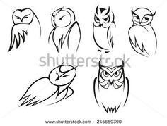 stock-vector-outline-cartoon-owl-birds-in-different-poses-for-educational-concept-mascot-or-logo-design-245659390.jpg (450×342)