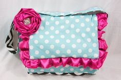 Aqua Dot Hot Pink Messenger Style Diaper Bag by RitzyBabyOriginal