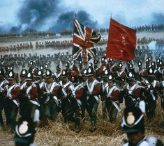 Red outfitted warriors: How British troops looked during the battle as portrayed in the iconic 1970 film Waterloo.
