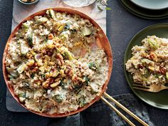 Our simple technique yields classic risotto texture in a fraction of the time. Precooked brown rice simmers with a flour-thickened mixture of milk and chicken stock, boosted with a touch of cream cheese for extra richness.