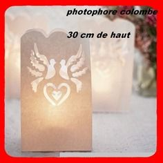10 photophore colombes  decoration table mariage                                               marque place,ballon,dragees,tulle,guirlandes,pétales,ruban strass,confettis