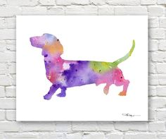 """Amazon.com: """"Dachshund"""" Abstract Watercolor Art Print By Artist DJ Rogers: Posters & Prints"""