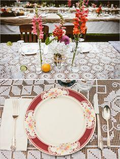 doily table cloth with vintage place setting #weddingreception #placesetting #weddingchicks http://www.weddingchicks.com/2014/02/05/california-rustic-farm-wedding/