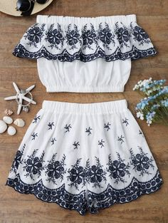 GET $50 NOW | Join Zaful: Get YOUR $50 NOW!http://m.zaful.com/off-shoulder-embroidered-crop-top-with-shorts-p_291444.html?seid=3859555zf291444