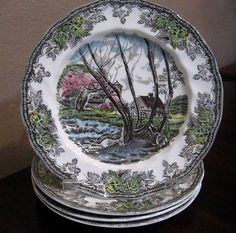 "Johnson Bros Friendly Village ""Willow By the Brook"" plate to decorate kitchen"