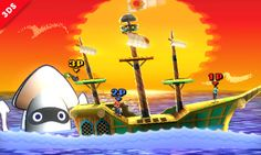 7/29/14•3DS•Official•Since the stage is paper, it transforms when it folds over and opens up again. This ship is the S.S. Flavion from Paper Mario: The Thousand-Year Door.