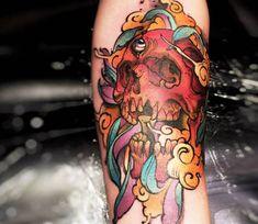 Skull tattoo by Felipe Rodrigues