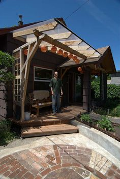"Deck-step transition: Front porches and a common courtyard provide outdoor living ""rooms. Tiny Cabins, Cabins And Cottages, Decks And Porches, Front Porches, Co Housing, Cabin Chic, Backyard Cottage, Outdoor Living Rooms, Kitchen Island Lighting"