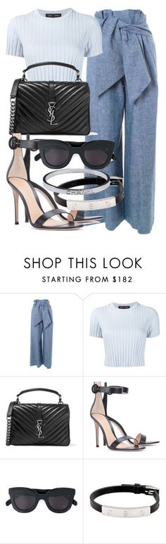 """""""Sem título #2139"""" by mariandradde ❤ liked on Polyvore featuring MSGM, Proenza Schouler, Yves Saint Laurent, Gianvito Rossi, CÉLINE, Cartier and Chanel"""