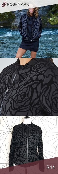 Fabletics Black Paola Puffer Jacket NWT size L Floral quilted jacket with Shirred back  / Water resistant fabric  /  hip length / 100% Poly fabletics Jackets & Coats Puffers