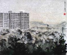 Panelák | Ondřej CASKA Chinese Brush, Olympus Digital Camera, Skyscraper, Clouds, Painting, Outdoor, Outdoors, Skyscrapers, Painting Art
