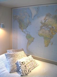 Guest room - have everyone put in a pin with their names on it on where they are from (and date of visit?)