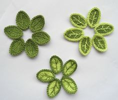 Items similar to Crochet Applique Leaves With Vein 30 pcs Supplies For Clothing three type three colors on Etsy Crochet Leaves, Knitted Flowers, Thread Crochet, Knit Or Crochet, Irish Crochet, Crochet Motif, Crochet Hooks, Appliques Au Crochet, Crochet Flower Patterns