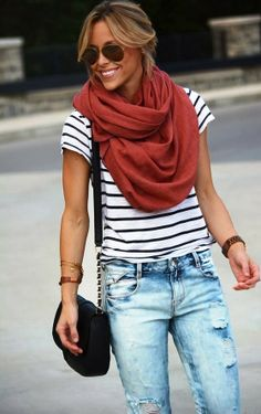 MODE THE WORLD: Ripped Jeans With Infinity Scarf and Stripes