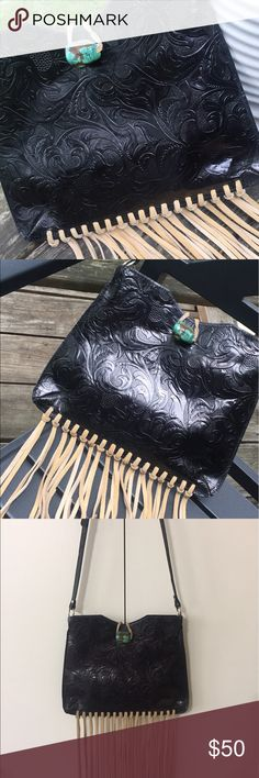 Barse Leather Fringe Purse Very cute Barse Leather Fringe Purse with Turquoise Clasp Barse Bags Shoulder Bags