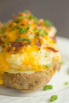 The Best Twice Baked Potatoes | browneyedbaker.com #recipe