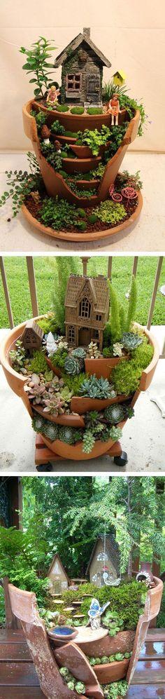 Transform a broken pot into a Fairy pot! #gardenart #fairypot