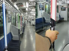 handrails on subways in Japan transformed into life-sized lightsabers