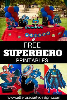 DIY Superhero Party Idea Printables for boys.  Spiderman, Batman & Captain America FREE party printables