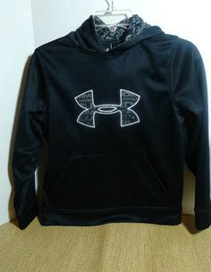 UNDER ARMOUR Black Logo Pullover Water-resistant Sweatshirt HOODIE YMD Medium