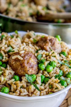 One Skillet Beef Meatballs with Rice and Peas from The Food Charlatan . - The Weeknight Dinner Cookbook - Meatballs Recipes Using Meatballs, Meatballs And Rice, Best Meatballs, Jelly Meatballs, Pea Recipes, Cooking Recipes, Healthy Recipes, Simply Recipes, Skillet Recipes