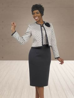 Fall 2015 Charcoal / Print Size 8-20 Corporate Wear, Corporate Fashion, Church Outfit Fall, Church Outfits, Women Church Suits, Suits For Women, Clothes For Women, Business Dresses, Business Outfits