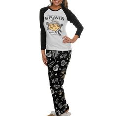 San Antonio Spurs Ladies White-Black Little Miss NBA 2-Piece Pajama Set